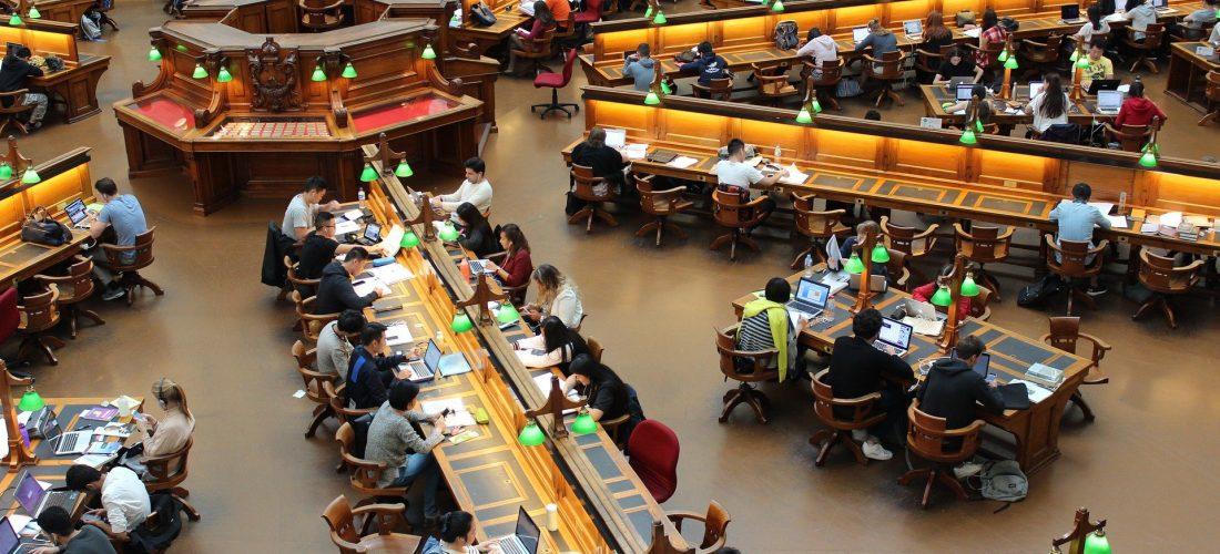 Stundenten im Lesesaal einer Bibliothek