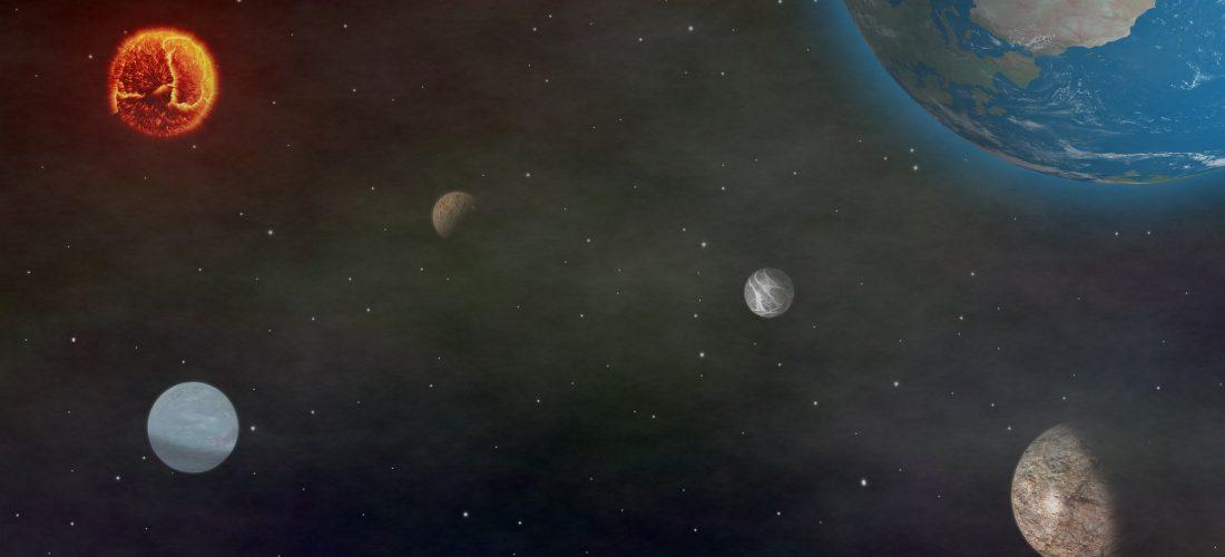 Die Erde und andere Planeten aus dem Weltall