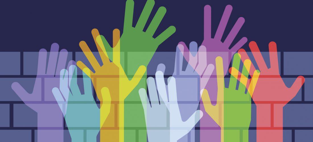 Grafik: bunte Hände greifen über eine Mauer