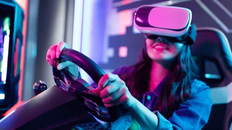 Gamerin mit VR-Brille