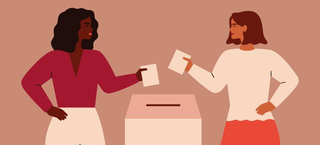 Frauen geben ihre (Wahl-)Stimme ab