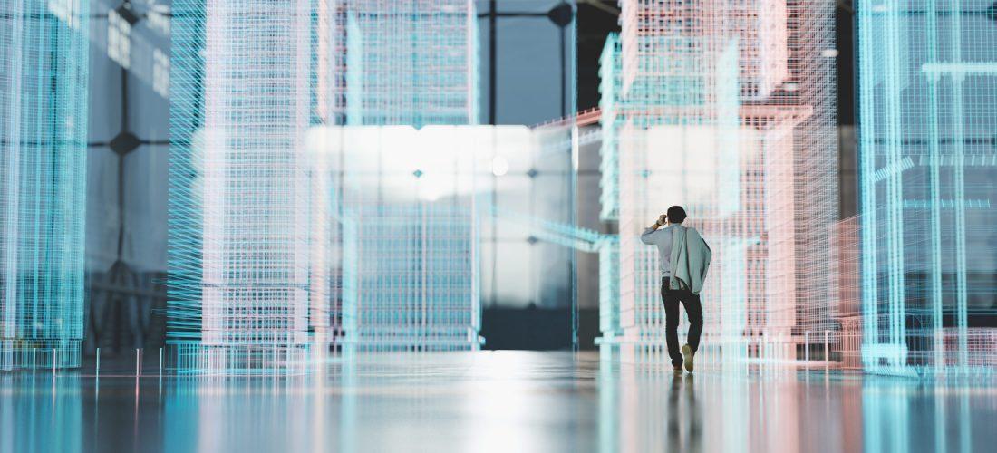 Mann im virtuellen Raum